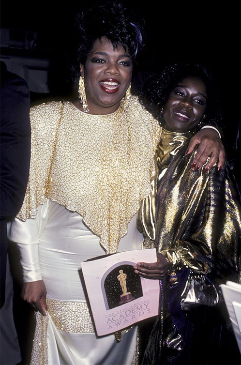 Oprah didn't try on her dress til the night and had to be pushed into it.