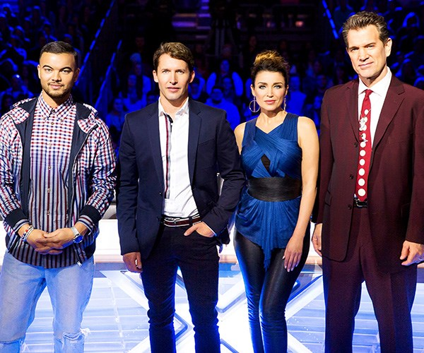Dannii with her *X Factor Australia* co-stars Guy Sebastian, James Blunt and Chris Isaak in 2015.