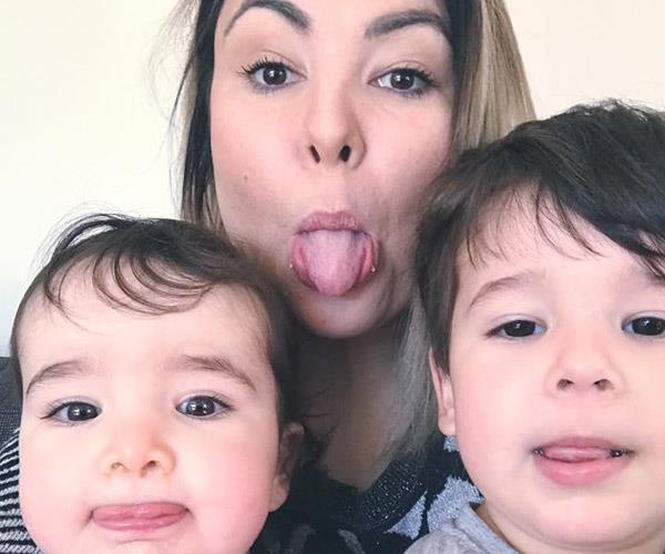 Laura with Luca and Sofia.