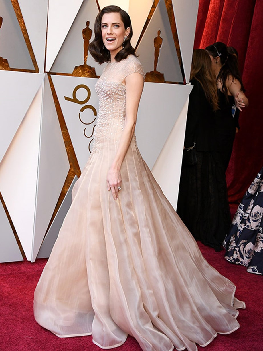 *Girls* stunner Allison Williams oozes elegance in this high-neck, nude number.