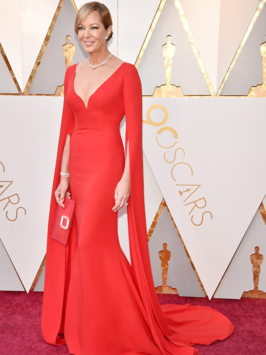 Best Supporting Actress nominee Allison Janney rocks it in red! This is the *I, Tonya* stars first ever Oscar nomination and the bookies reckon she's going to win.