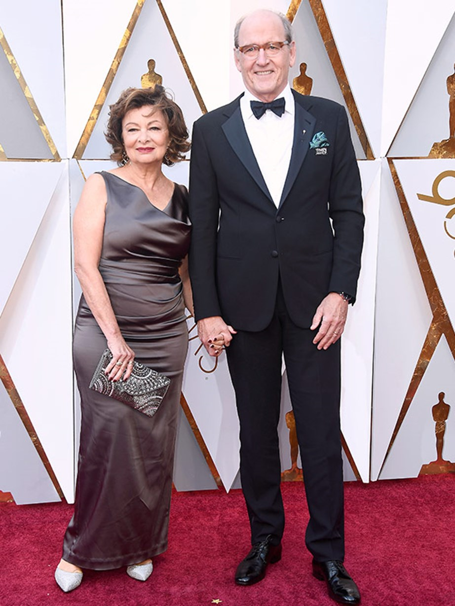 Richard Jenkins, with his wife Sharon Friedrick, is nominated the second time thanks to his supporting role in *The Shape of Water*.
