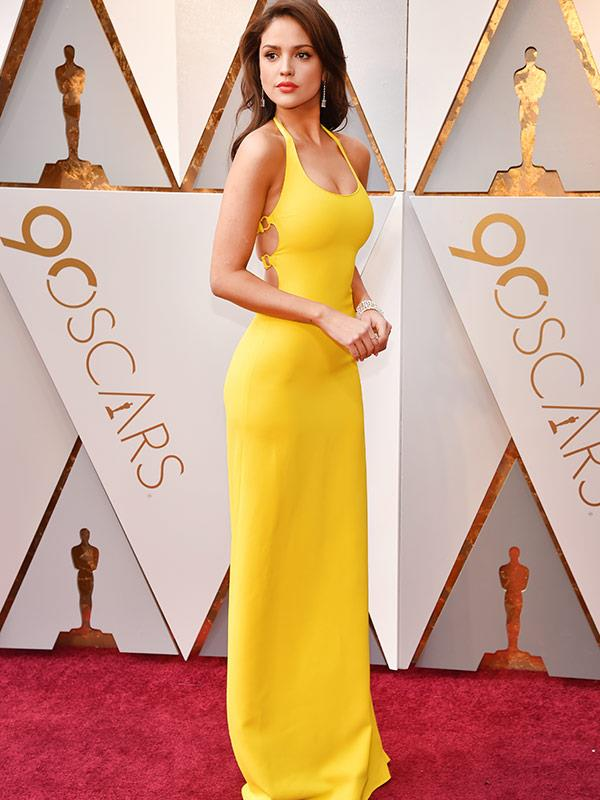 Mexican actress and singer Eiza González turns heads in a canary yellow, full-length gown.
