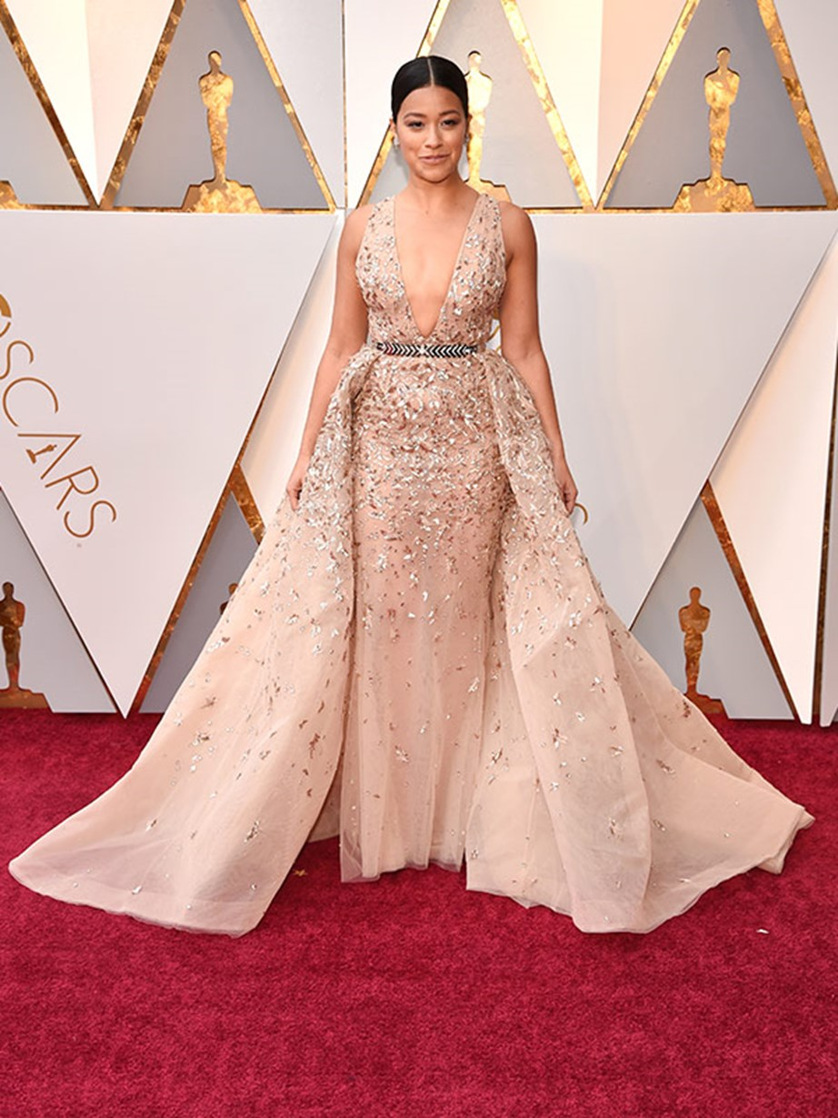 Actress and producer Gina Rodriguez dons the colour of the night - nude!