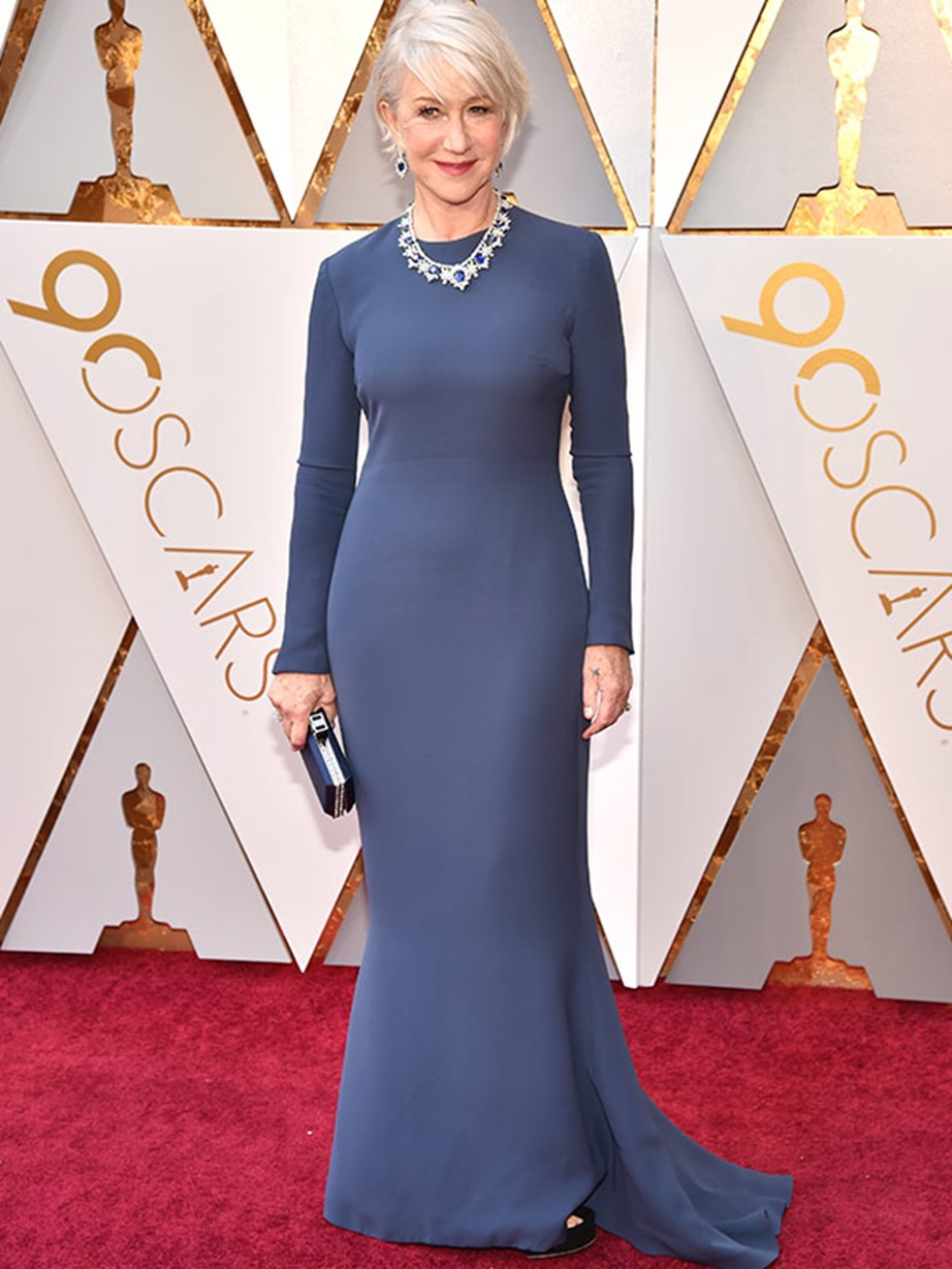 She seriously never gets it wrong. Dame Helen Mirren living up to her prestigious title in a custom deep blue dress by Reem Acra.