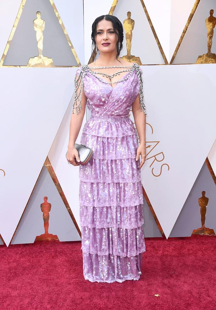 Salma Hayek worse a very bright and VERY busy dress. We're not too sure about this one.