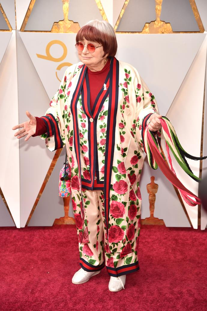 French film director, the sensational Agnes Varda turned quiet a few heads with this silky floral pantsuit. When you directed your first film in 1952, you're totally allowed to wear your PJs on the red carpet.