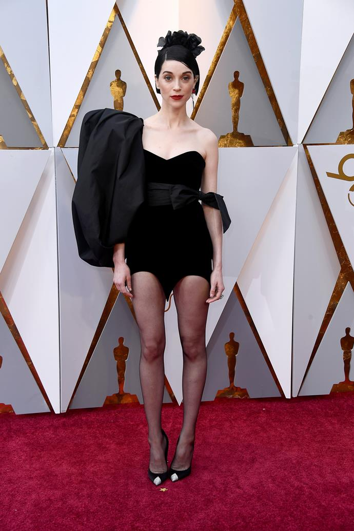 St. Vincent has her hands full as a musician, singer-songwriter, and multi-instrumentalist... so it's understandable that she forgot her pants.