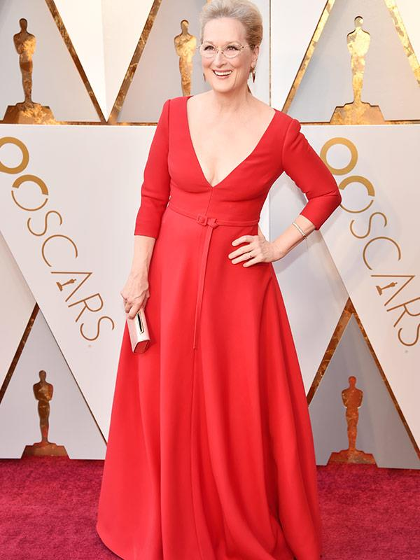 Best Actress nominee Meryl Streep is absolutely ravishing in red.
