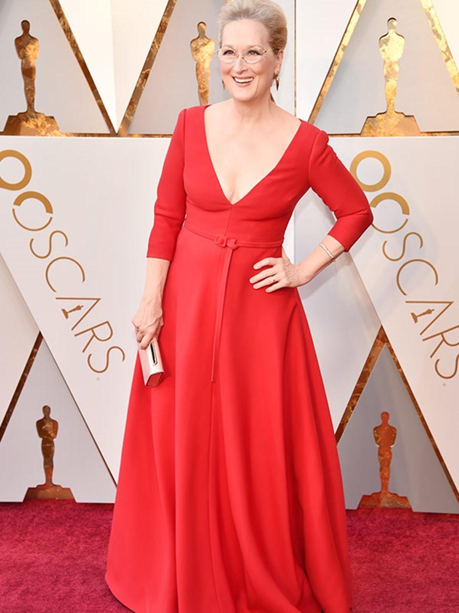 Best Actress nominee Meryl Streep is absolutely ravishing in red.