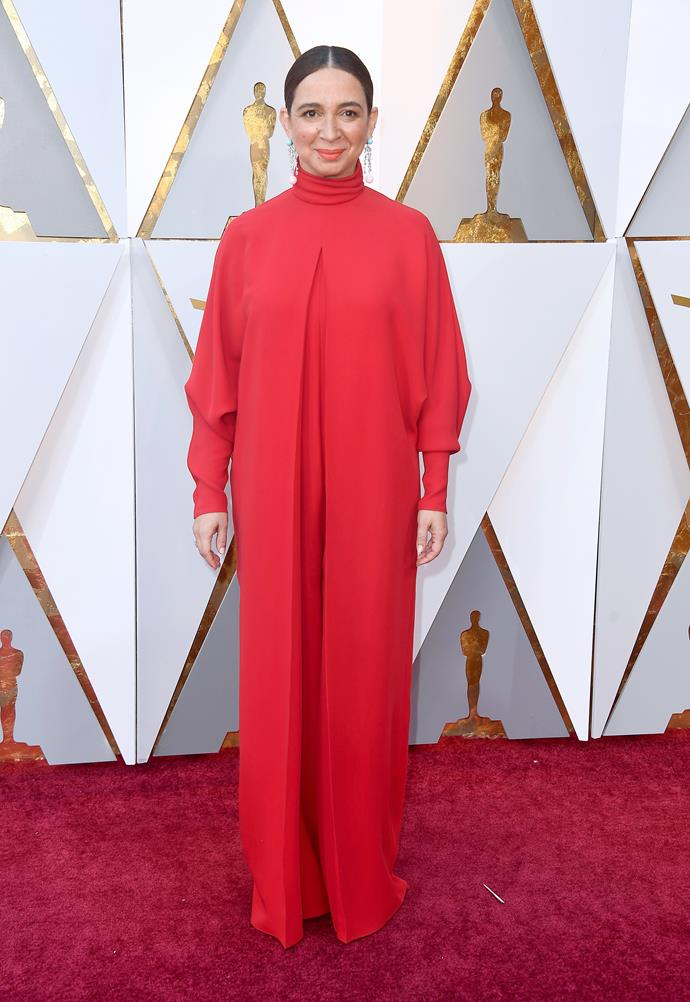 Maya Rudolph pays homage to the Rudolph part of her name in this strange red number.