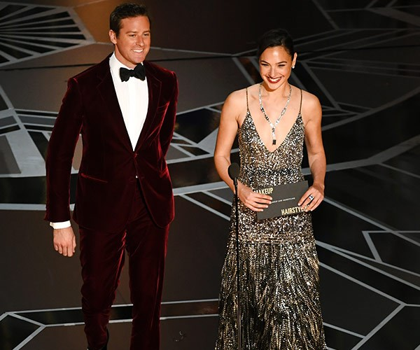 Armie Hammer and Gal Gadot are your first presenters for the night.