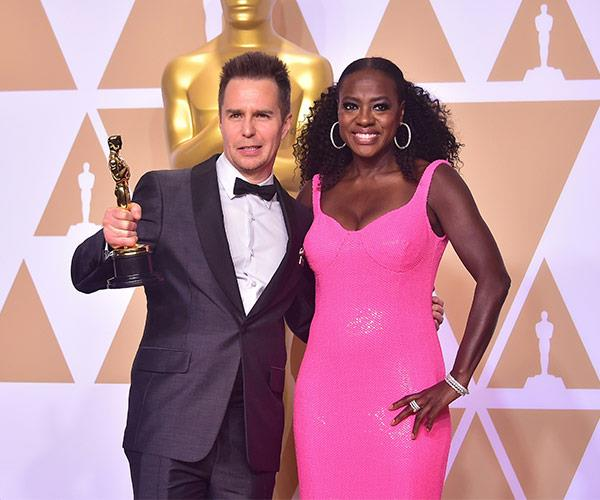 Best Supporting Actor winner Sam Rockwell and Viola Davis backstage.
