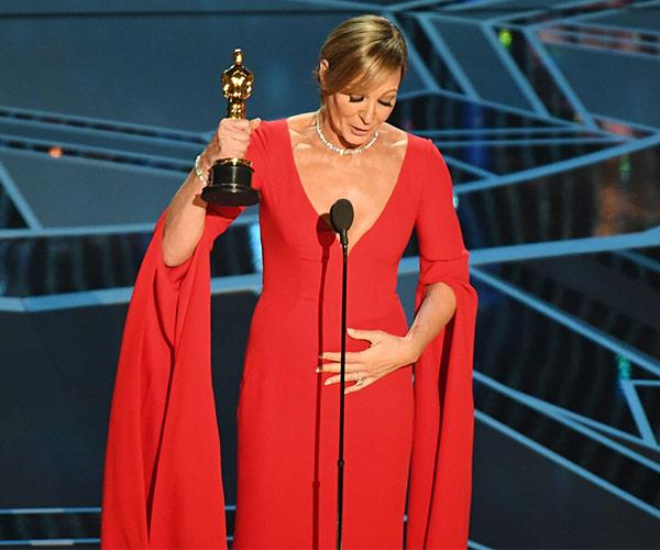 Allison Janney takes home her first Oscar. She won best supporting actress for her role in *I, Tonya.*