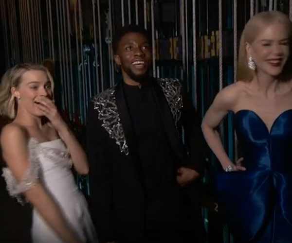 The Aussie squad! Margot Robbie and Nicole Kidman share a giggle backstage.