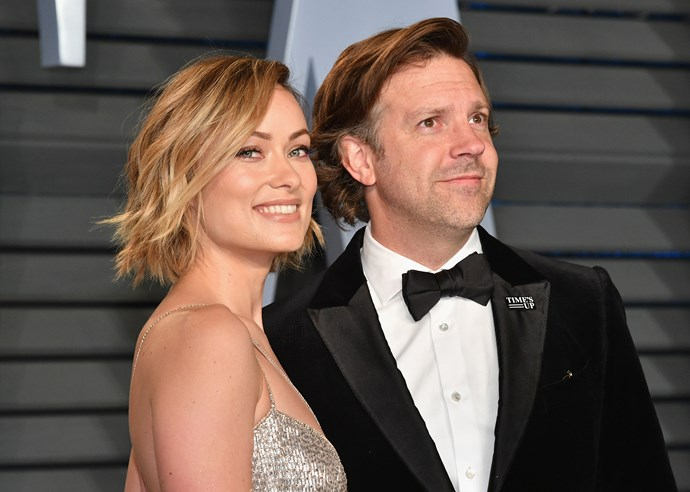 Actress Olivia Wilde and actor Jason Sudeikis are an adorable couple at the Vanity Fair Oscar Party.
