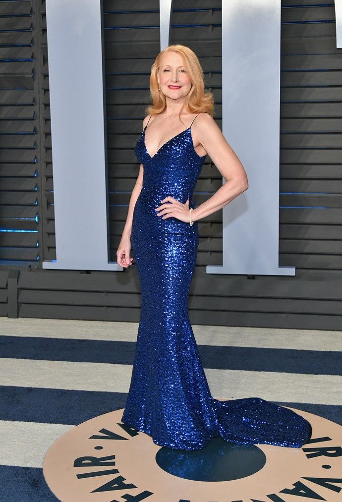 Actress Patricia Clarkson looks radiant as she attends the 2018 Vanity Fair Oscar Party.