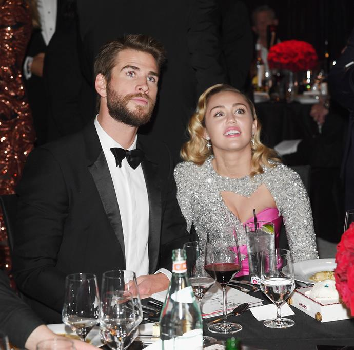 They made it a date night!  Liam Hemsworth and Miley Cyrus attend Elton John AIDS Foundation 26th Annual Academy Awards Viewing Party. We can't get enough of these two.