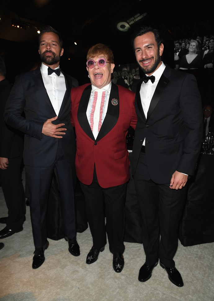 **Sir Elton looks like he's never had so much fun!**    (L-R) Ricky Martin, Sir Elton John, and Jwan Yosef at Elton John's AIDS Foundation Oscars After Party.