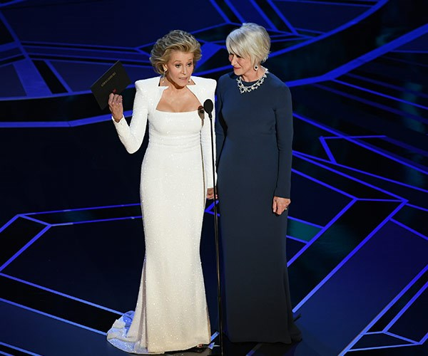 """Jane Fonda and Helen Mirren presented the best actor award and *owned* the stage.  Helen began, """"Jane and I very honoured to have been asked to present on Oscar's 90th birthday!"""" Jane interjected, """"Especially when we found out he's older than we are.""""  Not missing a beat, Helen quipped, """"Isn't that the point? I mean that's an anomaly here in Hollywood. Having an older man with a younger woman."""""""