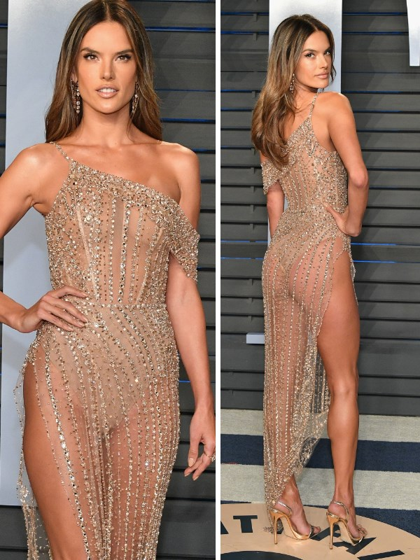 That's cheeky! Supermodel Alessandra Ambrosio wears a *very* sheer dress to the Vanity Fair Oscar's after party.