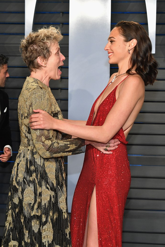 And she was pretty excited to meet Gal Gadot at the Vanity Fair after party... can't say we blame her!