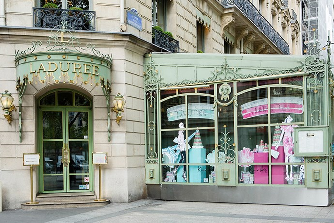 The beautiful Ladurée window display.