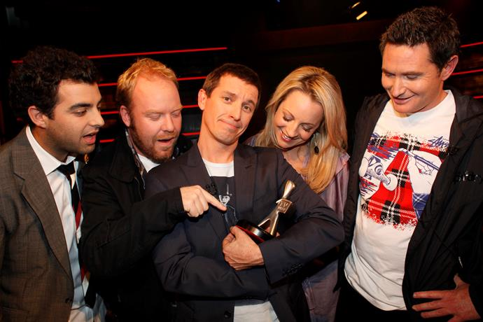 The *Rove Live* Cast (from left) Ryan Shelton, Peter Helliar, Rove, Carrie Bickmore and Dave Hughes admire the Silver Logie in 2009.