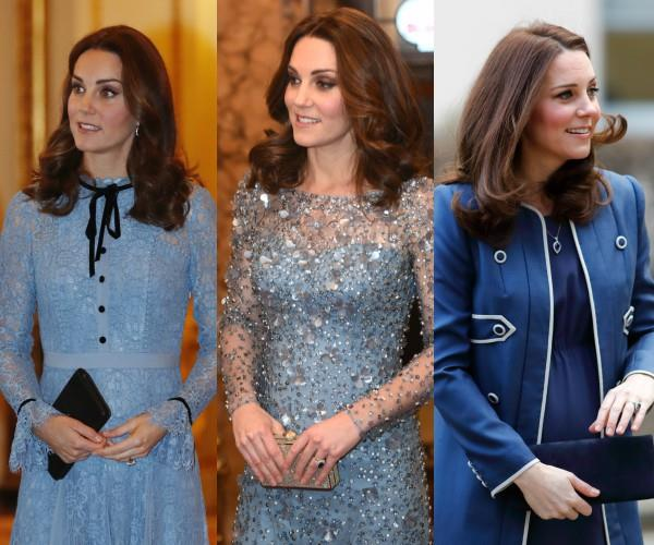 It's certainly been a very blue pregnancy for the beloved royal -- from that first lacy blue Temperley dress in October to her gown at the Royal Variety Performance in December and a Jenny Packham military-inspired coat last month.