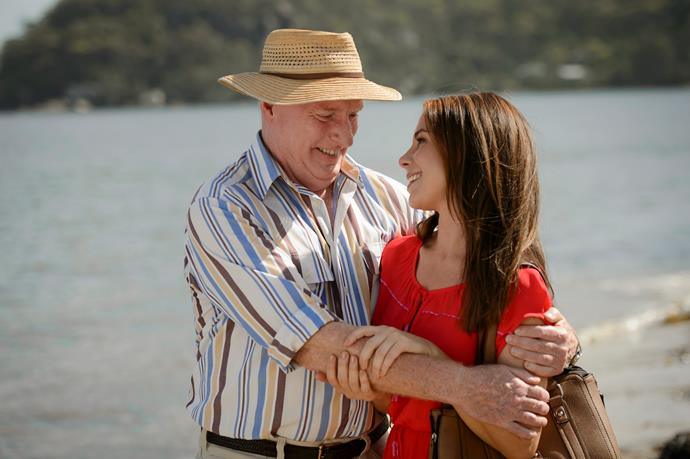 Ray's character Alf Stewart and Sally Fletcher played by Kate Ritchie