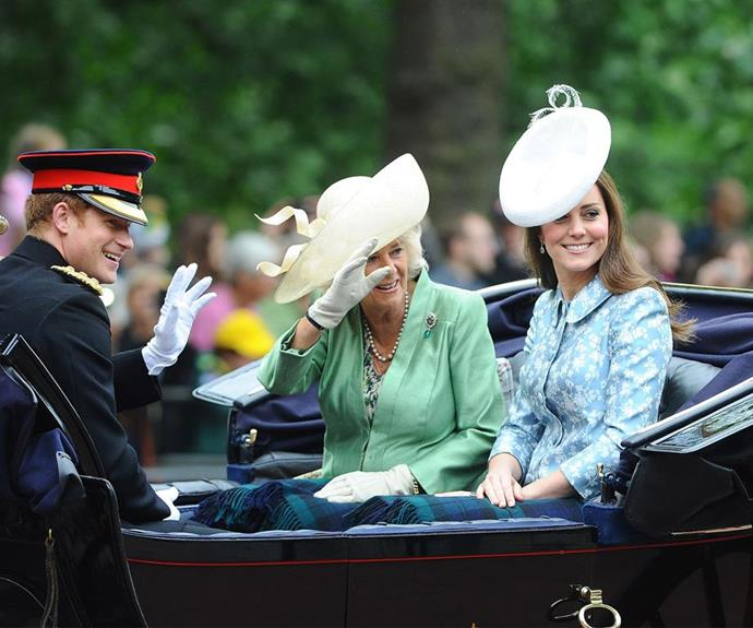 Back in the spotlight! In 2015 after giving birth to Princess Charlotte, Kate made her first public appearance at Trooping the Colour six weeks later.