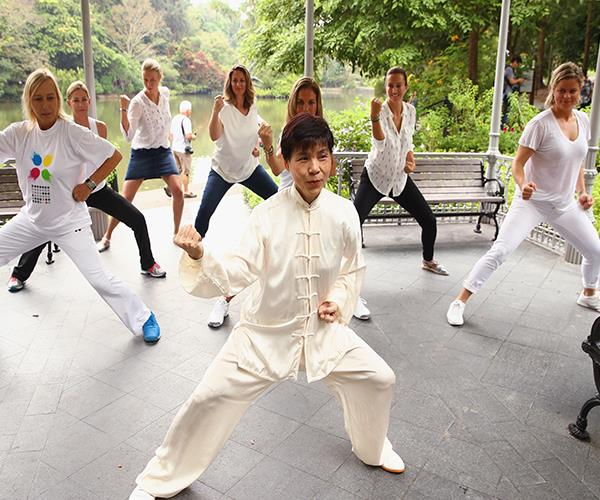 Nia combines martial arts, modern dance arts and yoga in a workout set to music.