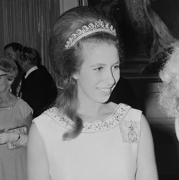 Princess Anne wore the Cartier Halo to a formal event during a visit to New Zealand, 1970.