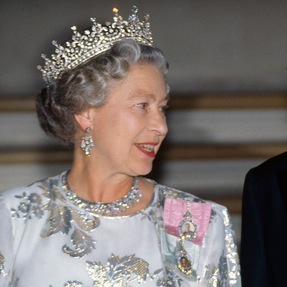 Her Majesty wore the tiara to a state banquet in France, 1992.