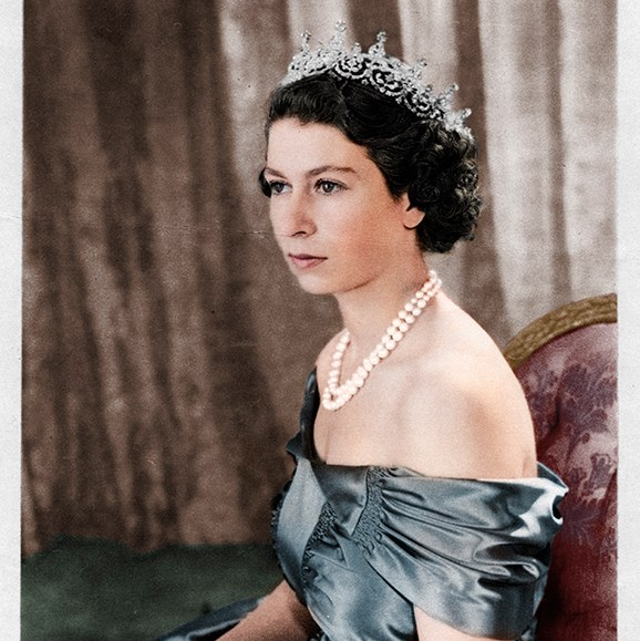 Princess Elizabeth wore the Girls of Great Britain and Ireland tiara for a formal portrait in 1950.