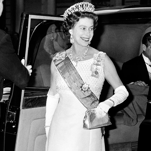Queen Elizabeth II, wears the Vladimir tiara, while arriving at the Claridge in London, 1972.