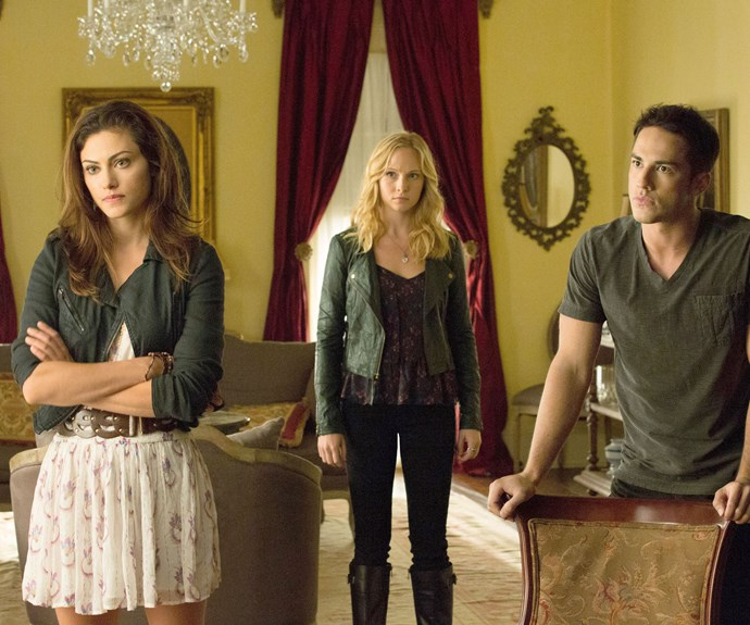Phoebe with fellow cast members Candice Accola (Caroline Forbes ) and Michael Trevino (Tyler Lockwood).