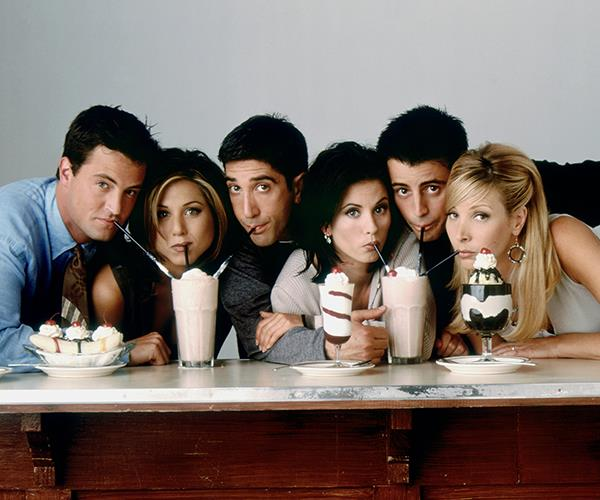 With *Friends* co-stars Matthew Perry, Jennifer Aniston, David Schwimmer, Courtney Cox and Lisa Kudrow.