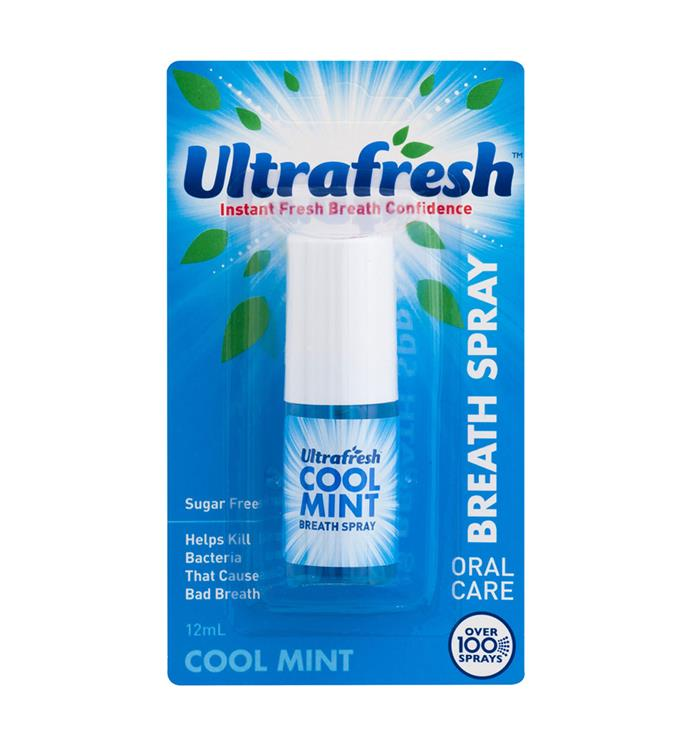 "Mints often get eaten (way) faster than intended. The answer? Fresh breath spray. <br><br>[Ultrafresh](http://www.kmart.com.au/product/ultrafresh-cool-mint-breath-spray-12ml/1694331|target=""_blank""