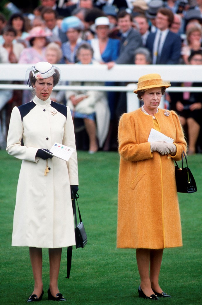 Princess Anne alongside Queen Elizabeth at the Epsom Derby in 1985.