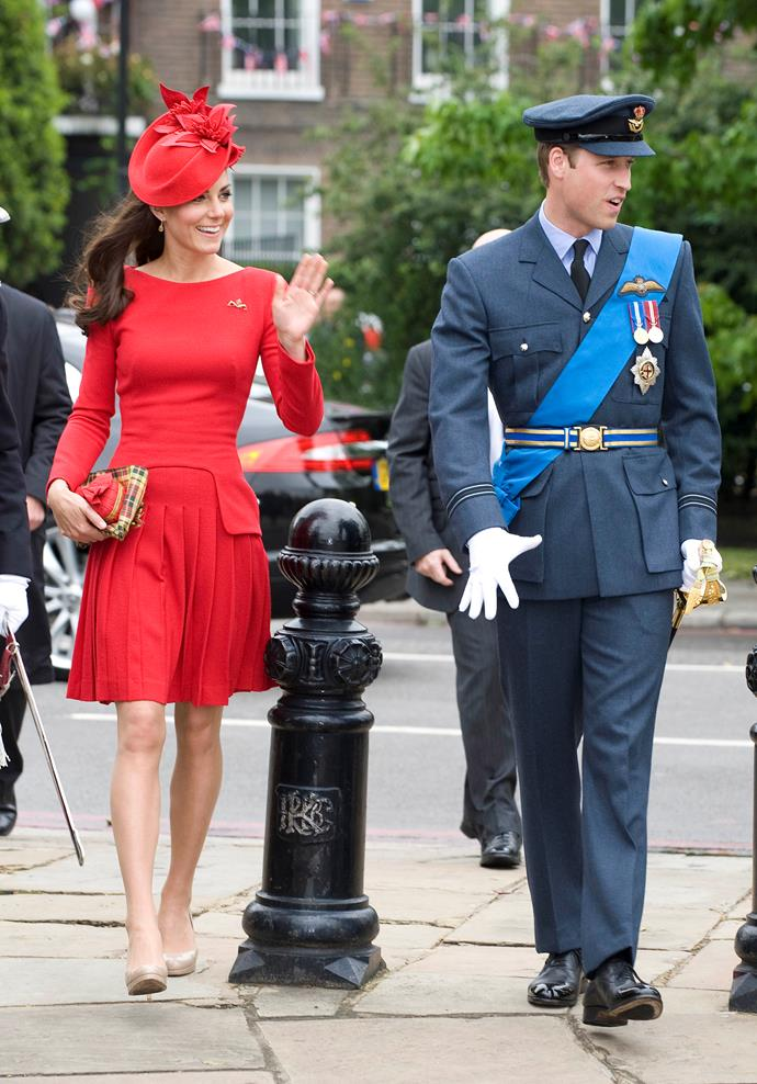 Wowing in red, the Duchess wore this flirty Alexander McQueen number during the Thames Diamond Jubilee Pageant on June, 2012.