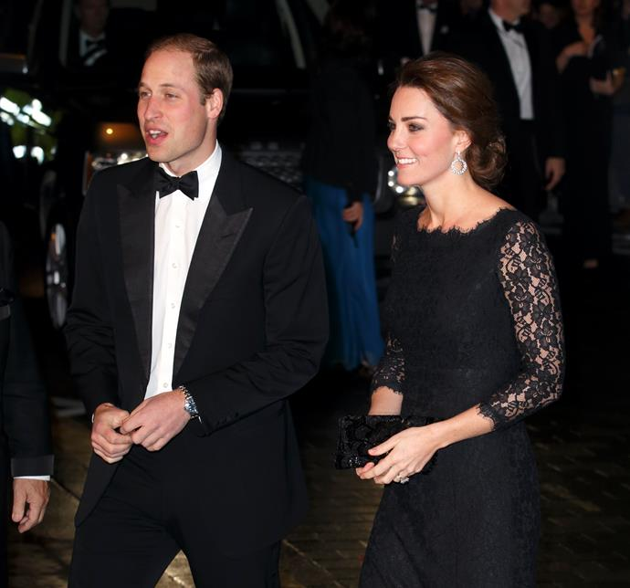 Kate radiated elegance in this navy Diane von Furstenberg lace dress complemented by dazzling diamond earrings.