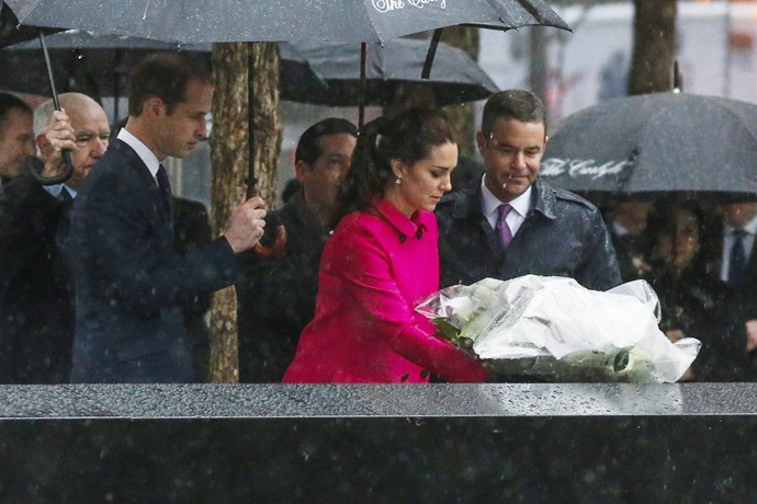 Kate previously wore the fuschia coat in 2014 as she laid down a wreath for victims of the 9/11 attack in New York City, at the Memorial Plaza at ground zero with Prince William by her side.
