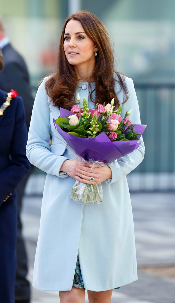 "[The Duchess of Cambridge](https://www.nowtolove.com.au/fashion/red-carpet/duchess-catherine-best-fashion-looks-2017-36357|target=""_blank"") stepped out in this beautiful blue cashmere Seraphine coatdress for the opening of the new Kensington Leisure Centre in London in 2015."