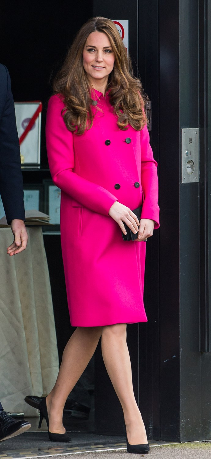 The Duchess loves this vibrant Mulberry coat. Here she wears the gorgeous piece when she was 8-months pregnant while visiting the Stephen Lawrence Centre in March 2015.