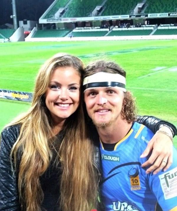 Nick with his ex-girlfriend, Martine Thomassen.