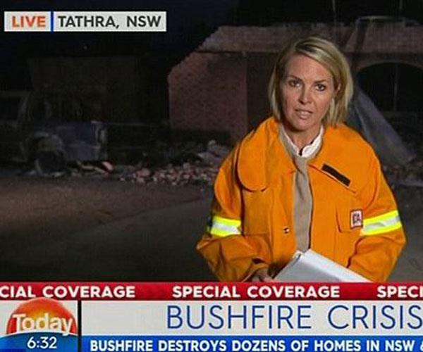 Awkward couch banter avoided with Georgie sent to Tathra in southern NSW to cover bushfire aftermath. *Source Channel Nine*