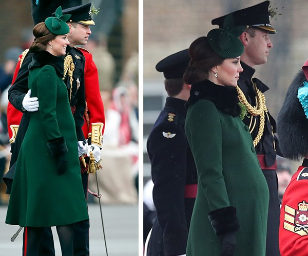 A pregnant Duchess Catherine and Prince William cuddle up on Saint Patrick's Day.
