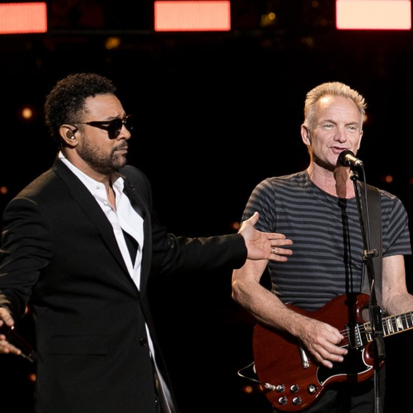 Reggae rapper Shaggy (L) and Sting (R) will be pairing up for a joint-performance for Her Majesty.