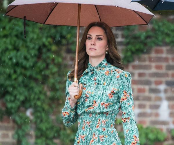 Following her third bout of the rare and debilitating condition known as hyperemesis gravidarum (HG), the pregnant Duchess stepped out from resting for a garden tour of her own home's garden at Kensington Palace in soft florals to match the scenery.